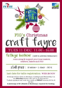 Fethiye International Group (FIG) Christmas Craft Fayre - 19 December 2018 @ Fethiye Kordon (Next to Address Restaurant)