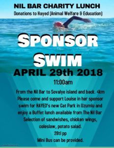 Sponsored Swim and Charity Lunch for HAYED (Animal Welfare & Education) @ Nil Bar | Muğla | Turkey