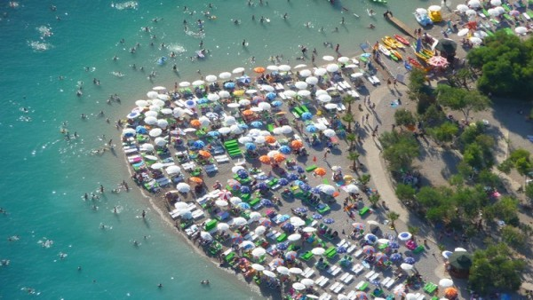 Tourists packed the world famous Oludeniz Beach last week during the three day Ramazan Bayram public holiday