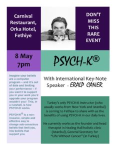 PYSCH-K: Eralp Caner - International Key-Note Speaker comes to Fethiye @ Carnival Restaurant, Orka Hotel, Fethiye