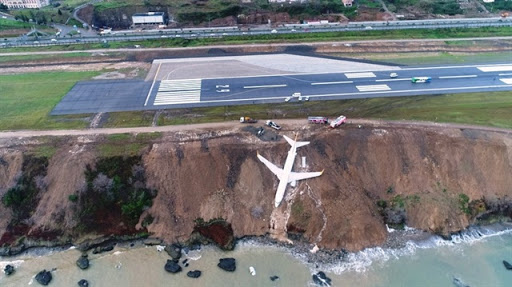Passenger plane teeters on cliff edge after skidding off runway in Turkey