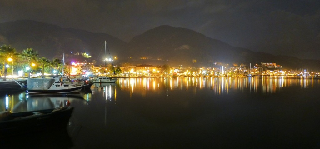 Fethiye harbour by night