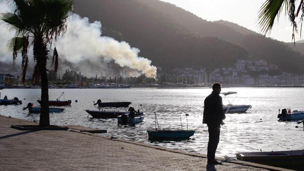 A fire in a downtown estate agency last week could be seen from the promenade.
