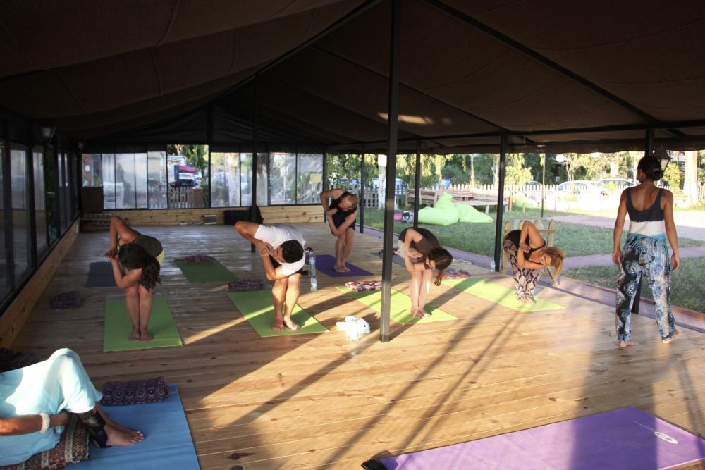 Gentle poses during the Sunset Yoga & Meditation Class