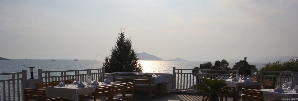 The restaurant is situated on the roof terrace with stunning views across Red Island and towards Çalış