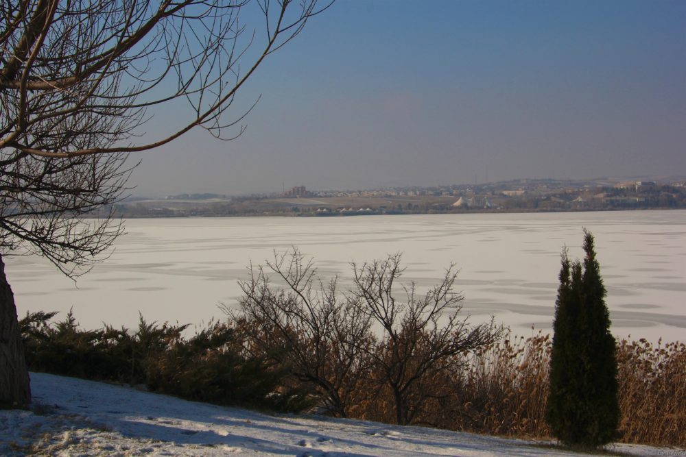The view from the hotel - Mogan Lake frozen over