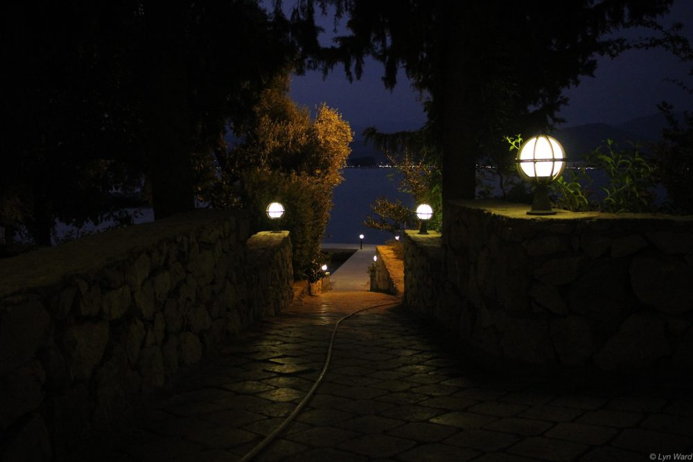 The pathway back to the boat with the lights of Çalış in the distance