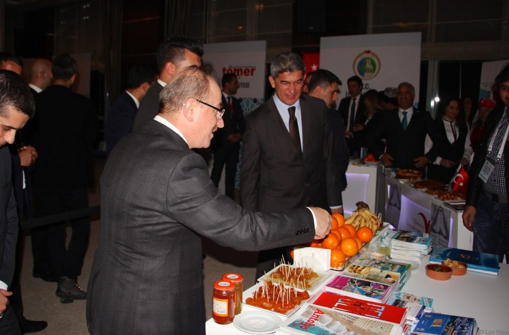 Sebahattin Öztürk enjoying a chat at the Antalya stand