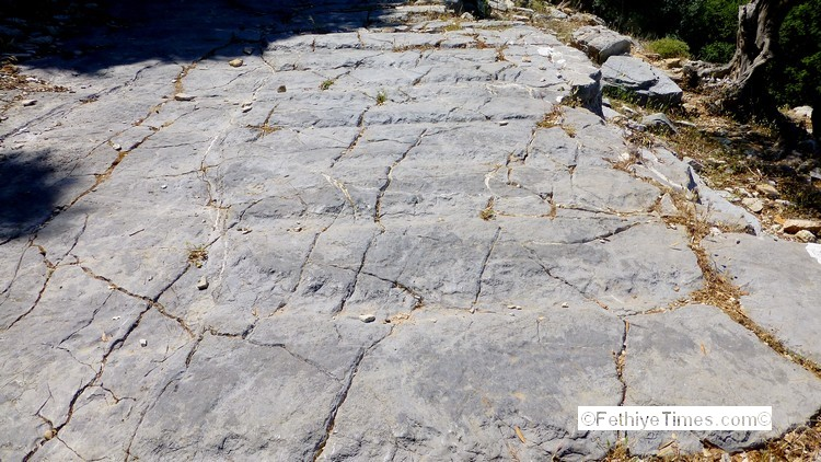 The path up to the ancient site of Lydae near Gocek, Turkey shows signs of work to imporve grip for pack animals