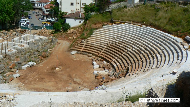 Restoration of the ancient theatre in Fethiye, Turkey
