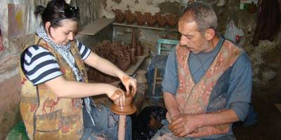 Easy does it - Avanos is famous for its potters and one thing to do there is have a go at throwing a clay pot on a wheel.