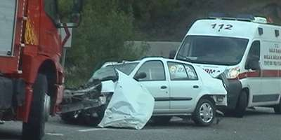 A colllision on a Turkish road near Gocek, Fethiye in 2009. The car collided with a bus.