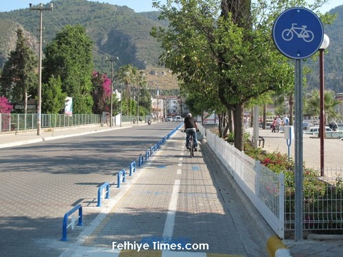 Cycle lane in the town of Fethiye, Turkey Opened 2013