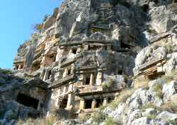 The ancient city of Myra – Burial Graves carved into the rock above the city