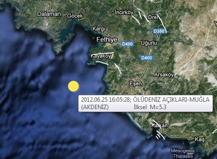 Oludeniz Earthquake Map 25 June 2012
