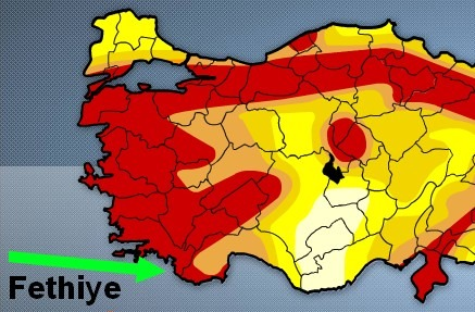 Fethiye and surrounding villages, are all in the highest risk of earthquake – category 1