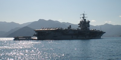 Nuclear powered aircraft carrier USS Enterprise at anchor off Marmaris, Turkey