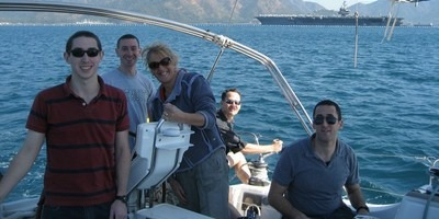 A day sailing around the bay on a local yacht skippered by Penny, was for him and fellow lieutenants Jared and Michael from USS Enterprise a wonderful experience