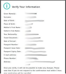 Verify your details once input. Note we have smudged our details for security purposes.