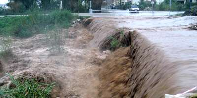 Storm drains full after winter deluge in fethiye, Turkey