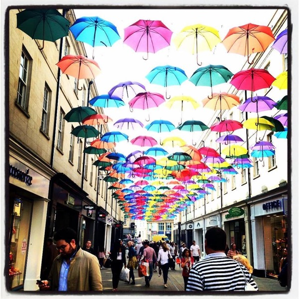 Bath shopping street umbrellas