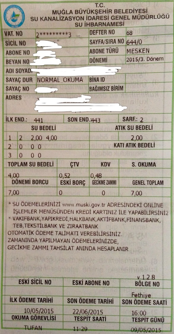 Mugla council water bill example 2015