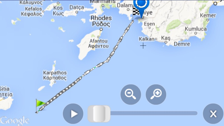 Course of Tuna ship to fethiye