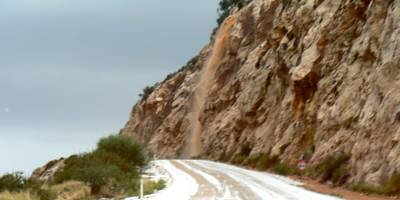 The coastal road between Kalkan and Kas after a heavy hail storm 16 December 2009