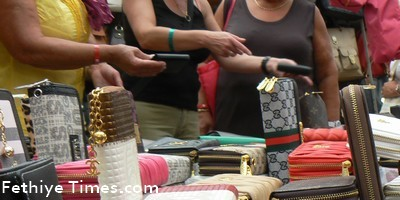 Counterfeit purses some with Chanel logos for sale in Fethiye market