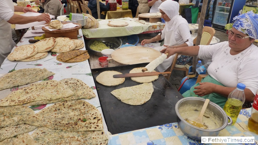 Pancake production at the Fethiye Friday Farmers Market