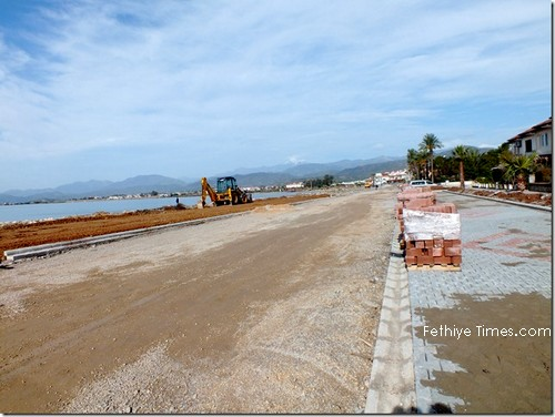 The development of the promenade and fishermans harbour in Fethiye, Turkey January 2013