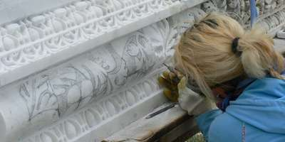 Stone carver at work at Sagalassos