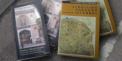 two guide books for Istanbul on foot