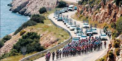 Tour of Turkey cycle race on the raod from Kalkan to Kas
