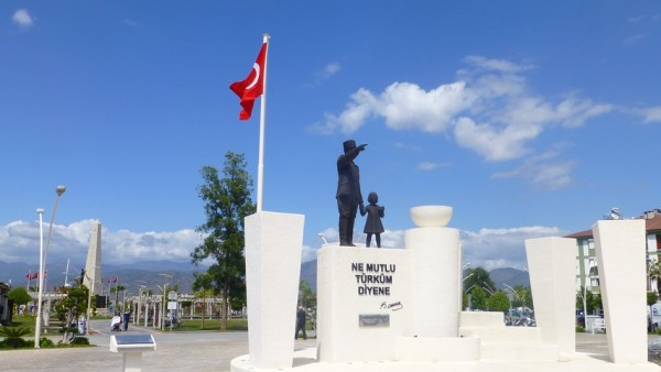 Fethiye town square and a statue of Atatürk, the founder of modern Turkey.