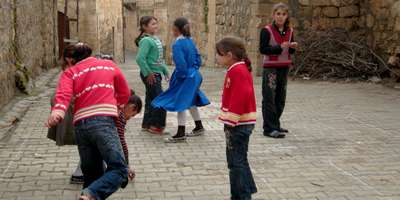 Here you can see girls playing that internationally renowned game – hop scotch in Midyat Turkey