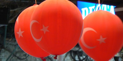 Balloons with the Turkish flag on them taken in Fethiye