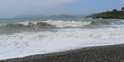 Big waves hit the beach at Yaniklar following a stormy winters day
