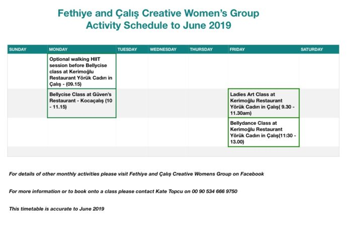 Fethiye and Çalış Creative Womens Group - Activity Schedule to June 2019