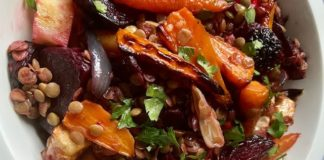 Ozlem's Turkish Table: Baked beetroots, celeriac, carrots and green lentils with pomegranate molasses