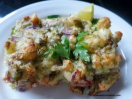 Baked Cauliflower with Feta, Dill and Onions (Karnabahar Mücveri)