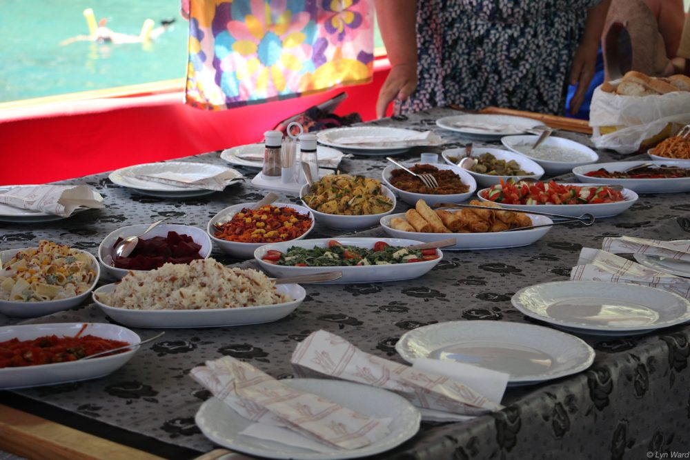 A delicious BBQ and meze lunch prepared by Ali's wife, Elvan