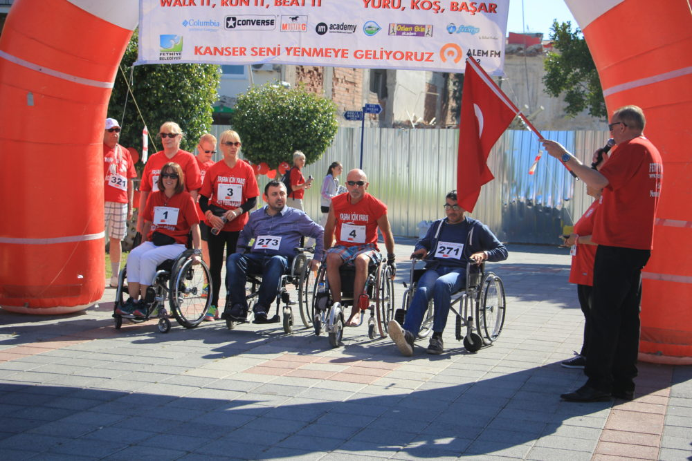 Wheelchair entrants at the first ever Race for Life - Turkey in 2015