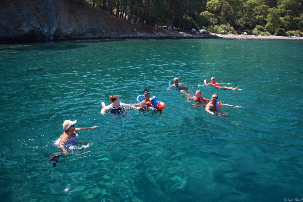 Cooling off in the cold clear water of Boncuklu Bay