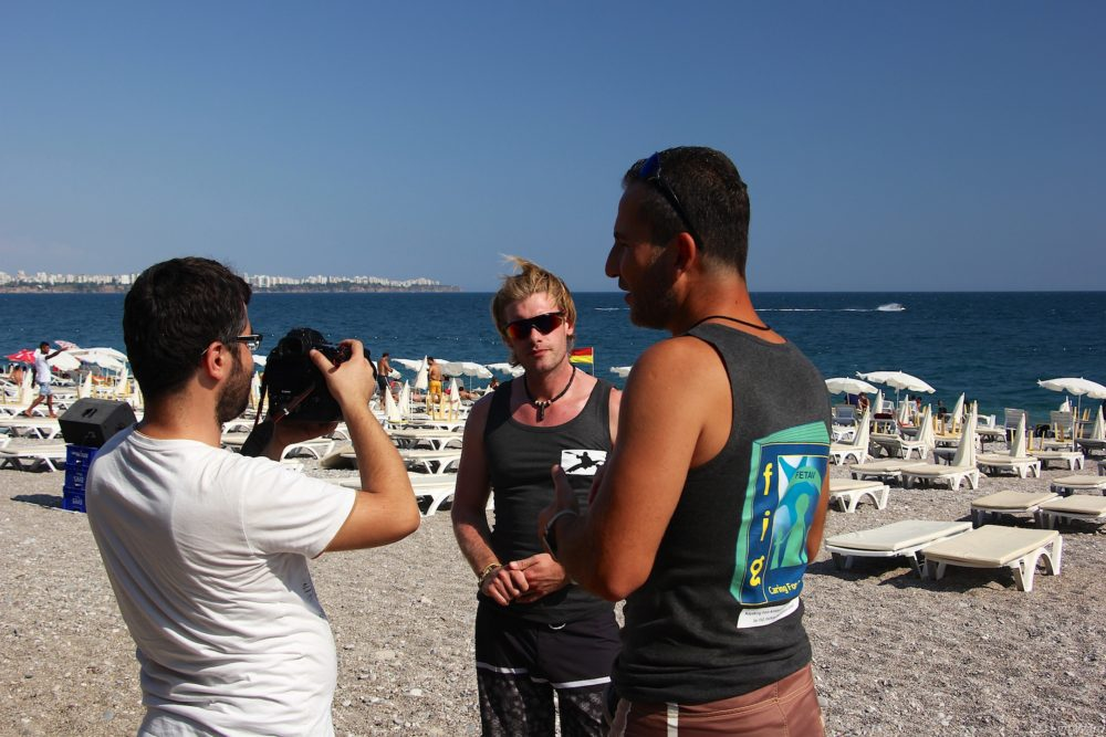 Sam and Doğan being interviewed by the Turkish Press