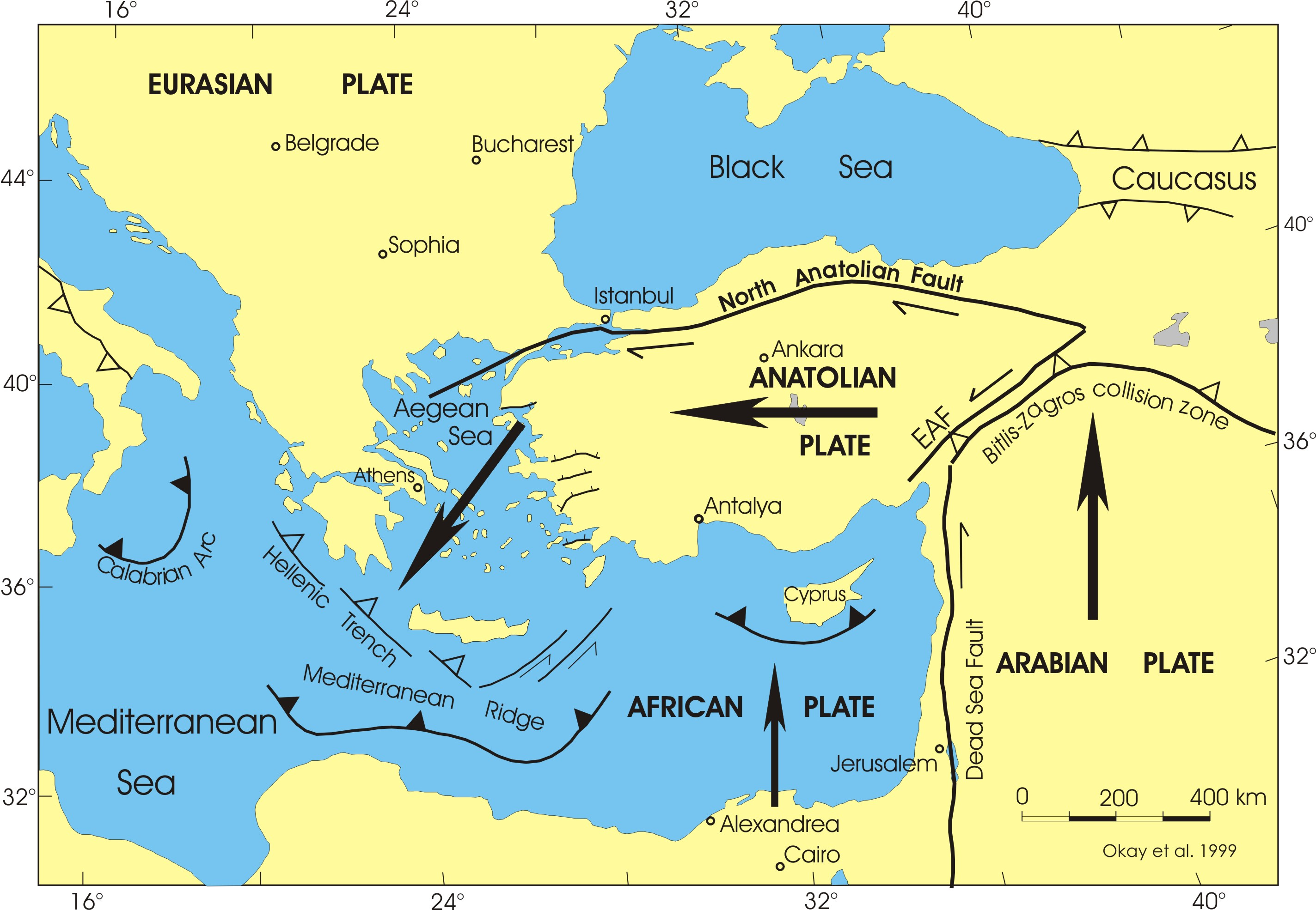 Map of active tectonic plates in the Eastern Mediterranean - Photo courtesy of New Scientist