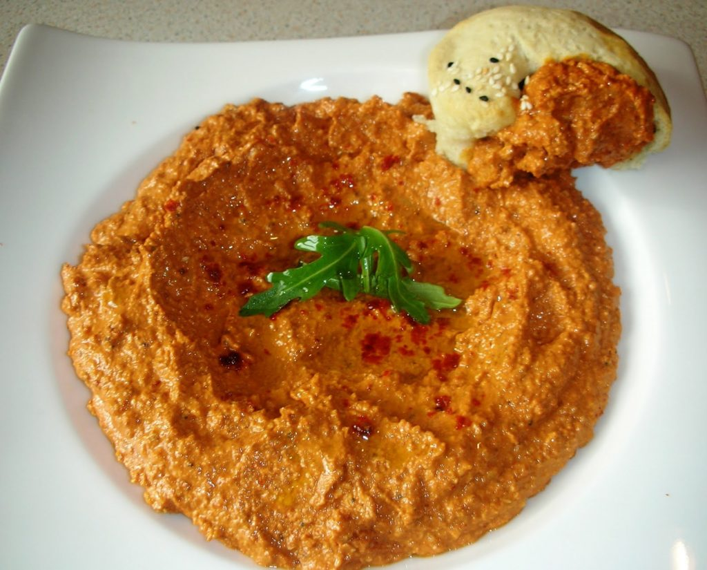 Muhammara or Cevizli Biber (Walnut and red pepper paste dip)
