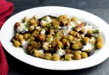 Recipe Box - Vegetables and Pulses - Grilled aubergines with spicy chickpeas & walnut sauce