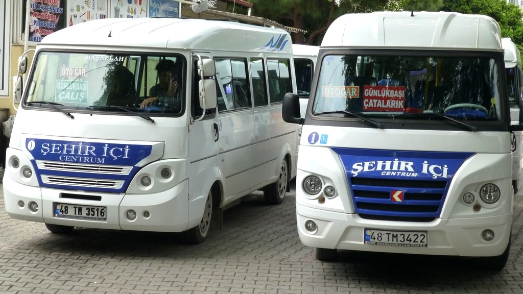 Travel around Fethiye using the colour coded Dolmus. These are headed for Calis via two different routes.