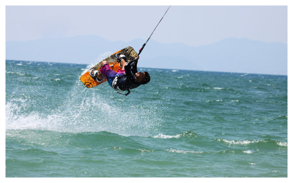 Some of the Kite Surfers perform freestyle stunts